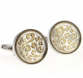 cuff022-cufflinks--gold-scroll-with-white-background
